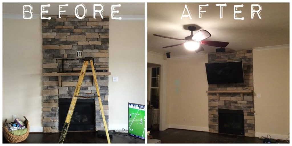 TV mount brick fireplace