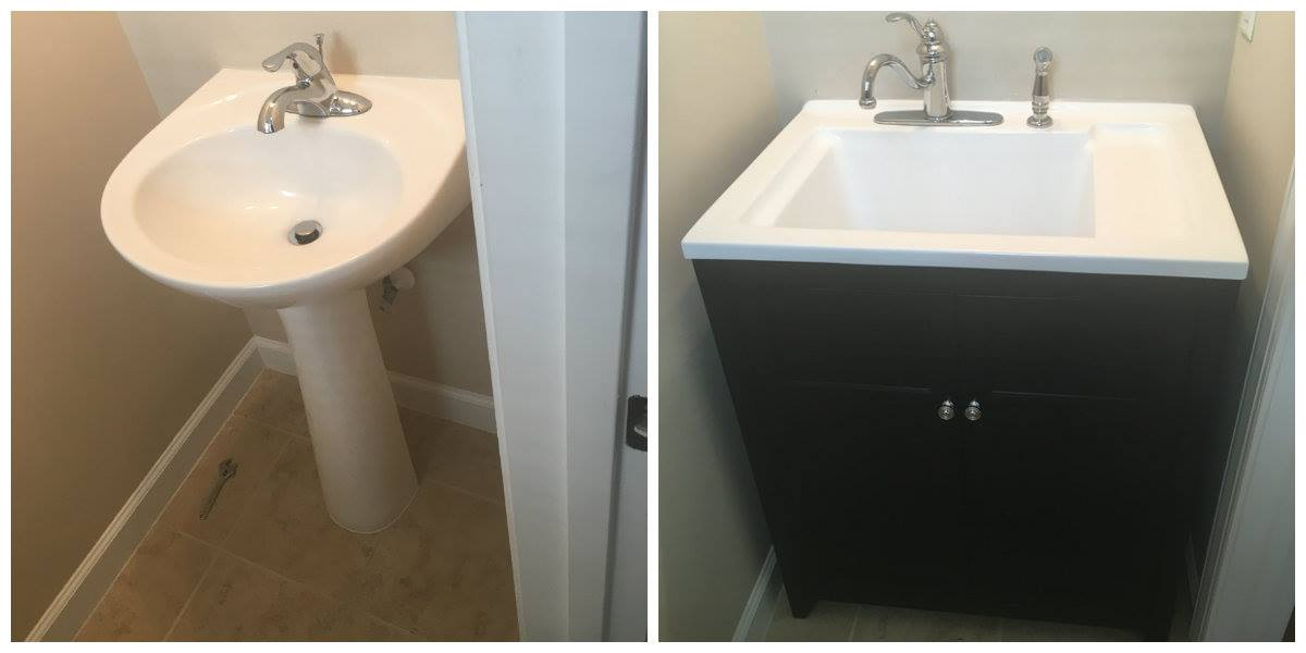 Kevin 39 S Handy Man Services Virginia Beach Replacing Bathroom Pedestal Sink With Utility Sink